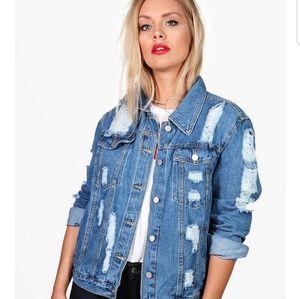 Plus Eve Oversized Super Distressed Denim Jacket